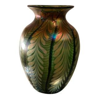 Huge Lundberg Studios Art Glass Pulled Feather Vase For Sale