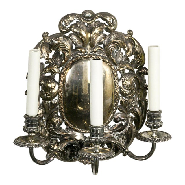 Spanish Silver Shield Triple Candelabra Sconces, Pair (3 Pairs Available) For Sale - Image 13 of 13
