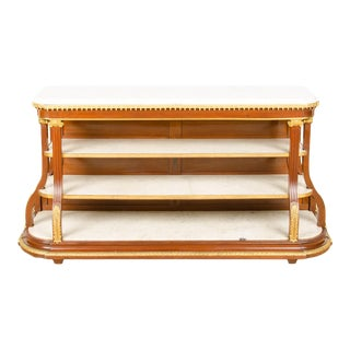 French Mahogany and Marble Sideboard Server Branded Jansen Late 19th Century For Sale