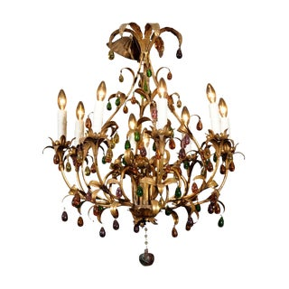 1960s Mid-Century Eight Light Gilded Iron and Crystal Chandelier