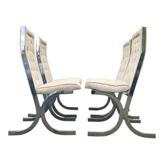 Milo Baughman Chrome Dining Chairs, Set of Four For Sale
