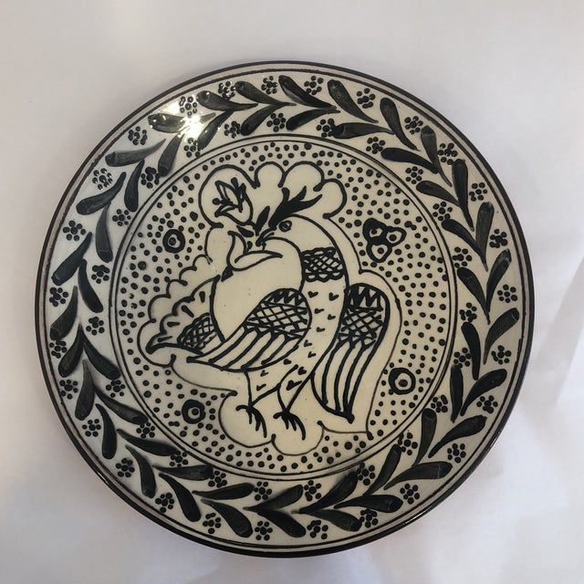 Hand-Painted, Black and White, Decorative Bird Plate