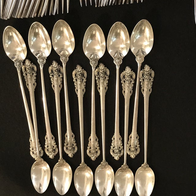 Wallace Silversmiths Wallace Sterling Silver Grand Baroque 93 Pc Flatware For Sale - Image 4 of 11
