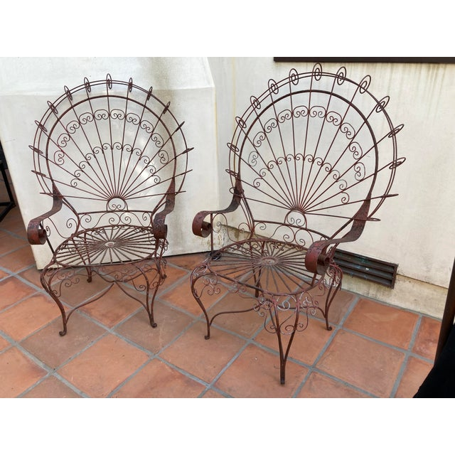 Vintage Mid-Century Salterini Style Peacock Chairs - a Pair For Sale - Image 10 of 12
