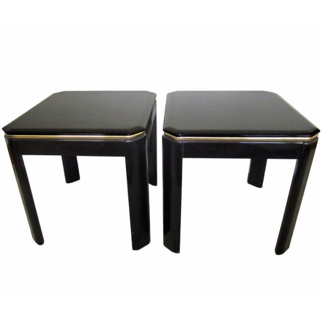 Vintage Modern Black Lacquer & Brass Tables - Pair - Image 1 of 10
