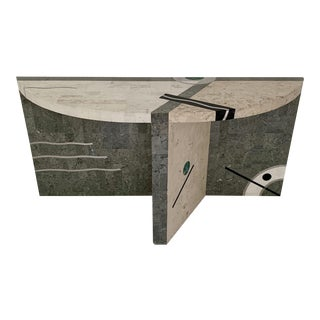 Vintage Memphis Oggetti Tavola Tessellated Stone Console Table For Sale