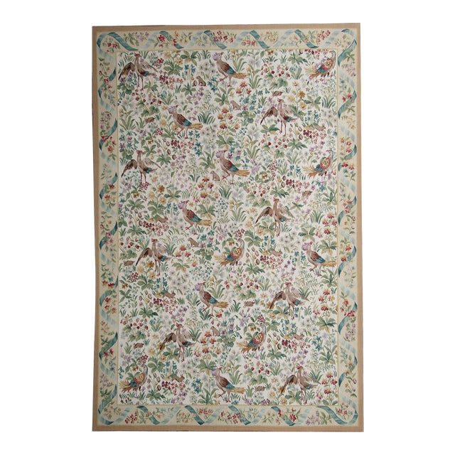 """Pasargad Aubusson Hand Woven Wool Rug - 8' 0"""" X 10' 1"""" For Sale"""