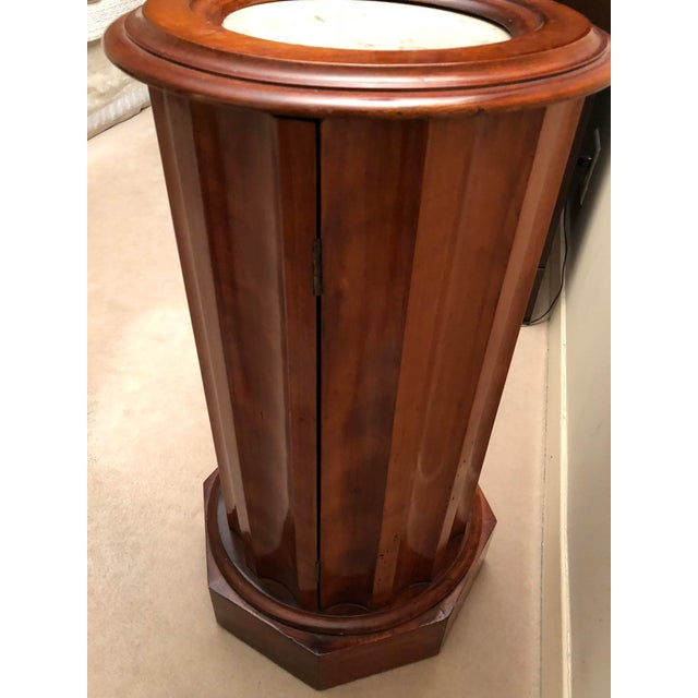 Brown Victorian Marble Top Mahogany Column Table For Sale - Image 8 of 9