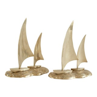 1970s Nautical Brass Sailboat Figurines - a Pair