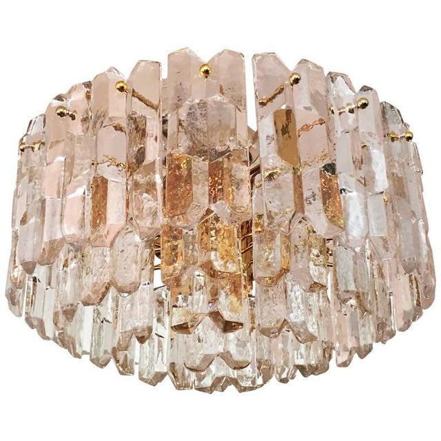 J.T. Kalmar Large Palazzo Frosted Glass Chandelier by JT Kalmar, 1970s For Sale - Image 4 of 11