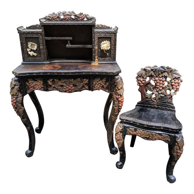 1800s Japanese Meiji Writing Desk & Hutch with Matching Chair - 3 Piece Set For Sale