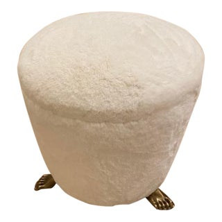 Off White Solid Brass Footstool For Sale