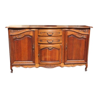 1900s French Country Solid Oak Sideboard / Buffet For Sale