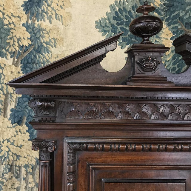 Mid 19th Century 19th Century Louis XIII French Walnut Two-Tiered Cabinet For Sale - Image 5 of 13
