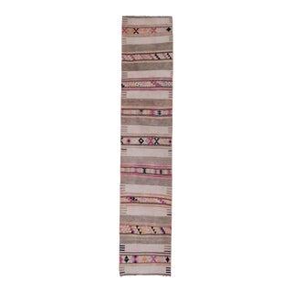Long and Narrow Handmade Staircase Turkish Wool Kilim Runner2'4'' X 11'10'' For Sale