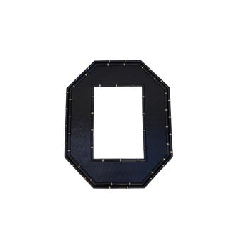 Large Vintage Faux Bamboo Octagonal Mirror || Black & Gold Mid-Century Hollywood Regency Home Decor | Chinoiserie Wall Mirror For Sale