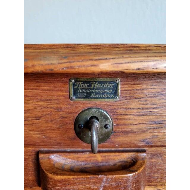 Mid-Century Danish Modern Tiger Oak Tambour Cabinet For Sale - Image 9 of 11