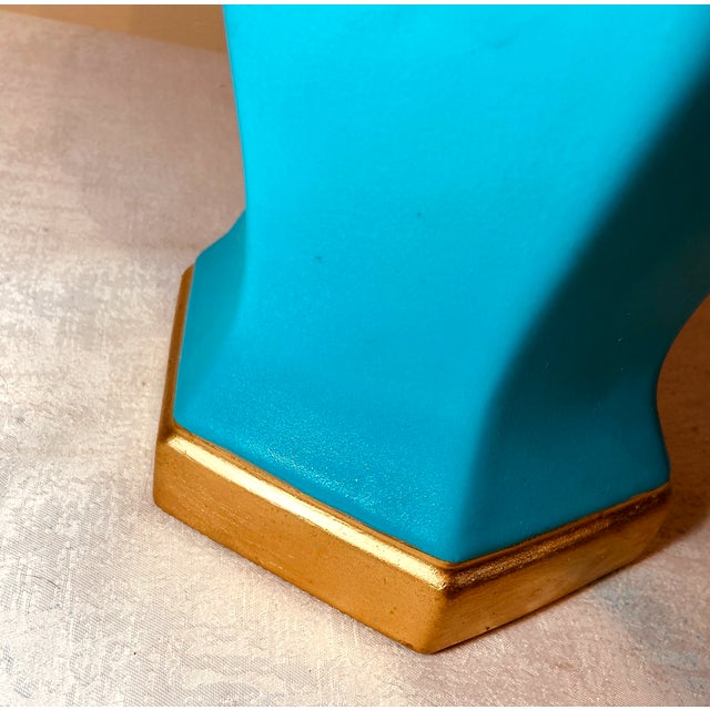 Frederick Cooper Vintage Turquoise Ceramic in the Manner of Frederick Cooper Desk Lamps – a Pair For Sale - Image 4 of 8