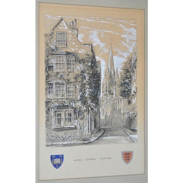 "Oriel Street, Oxford Original Illustration ""Dominus Illuminatio mea"" c.1953 For Sale - Image 4 of 10"