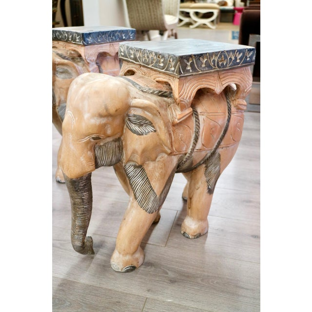 Early 21st Century Carved Wood Elephants - a Pair For Sale - Image 5 of 6