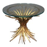 Image of 20th Century Italian Wheatsheaf Gilded Style Glass Top Side Table For Sale