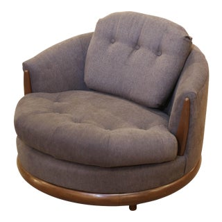 Mid-Century Modern Adrian Pearsall Style Grey Wide Barrell Chair For Sale