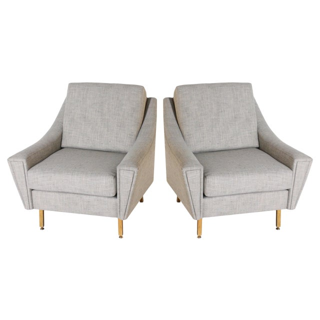 Italian Upholstered Bergere Chairs, C. 1940 - a Pair For Sale