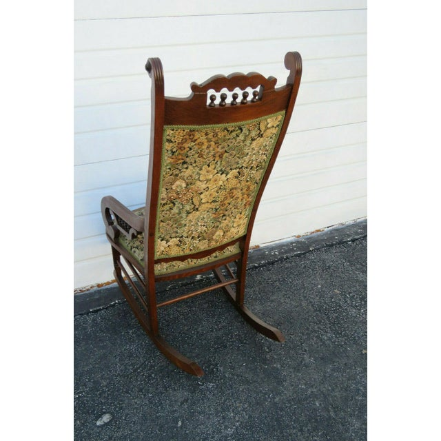 19th Century Victorian Carved Side Rocking Chair For Sale - Image 4 of 11