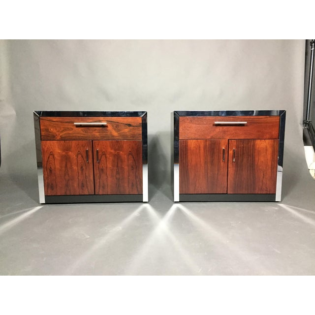 Pair of John Stuart Rosewood and Chrome Nightstands, USA, 1970s For Sale - Image 10 of 10
