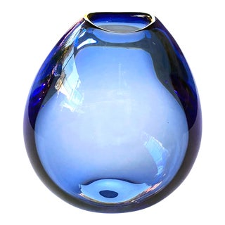 A Good Quality Danish 1960's Blue Glass Teardrop Vase by Per Lutken for Holmegaard; Acid Etched Signature and Dated 1961 For Sale