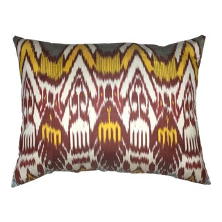 Large Silk Ikat Pillow For Sale