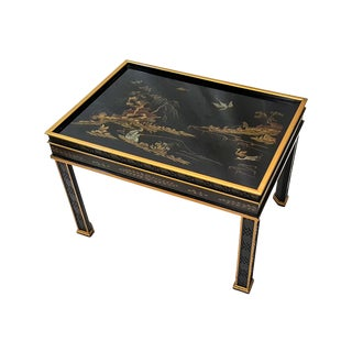 1980s Chinoiserie Drexel Hand-Painted Black Lacquer Side Table For Sale