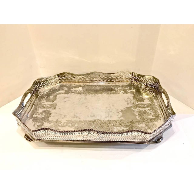 Gold Sheffield Silver Plate Large Gallery Tray For Sale - Image 8 of 8