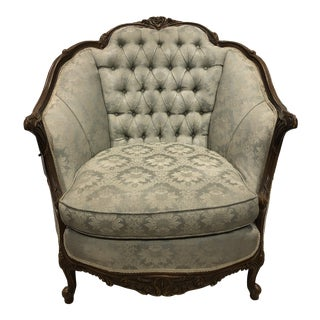 1940s French Tufted Bergere Chair For Sale