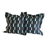 """Image of Pair of 24"""" Indigo Dyed Linen Pillows by Jim Thompson For Sale"""