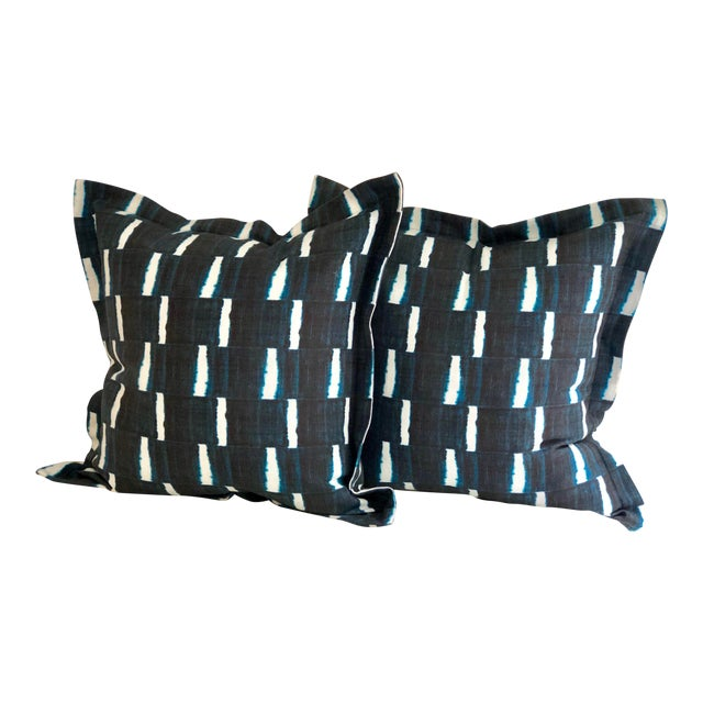 """Pair of 24"""" Indigo Dyed Linen Pillows by Jim Thompson For Sale"""
