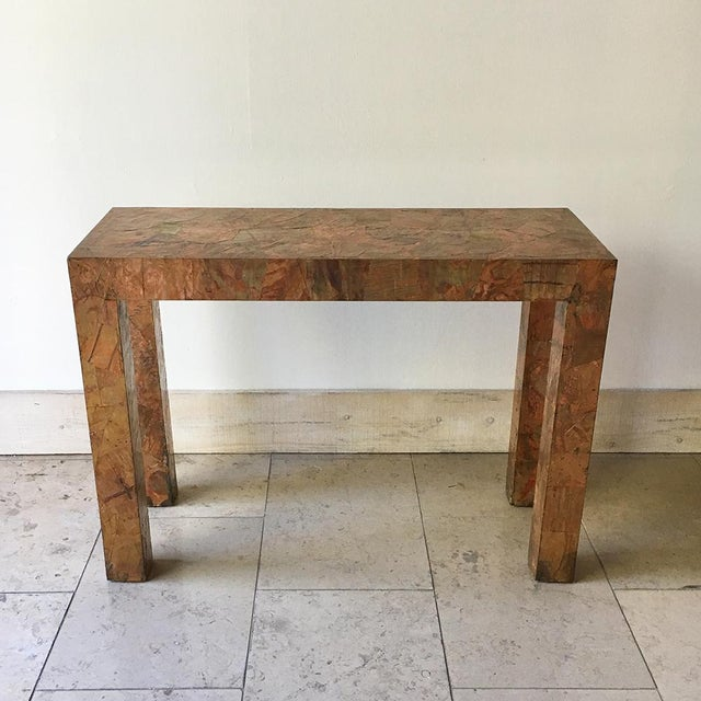 TALISMAN IS RETIRING, 50% OFF ALL STOCK (FINAL SALE PRICE SHOWN). A Lacquered Copper and Brass Patchwork Console Table 1970s