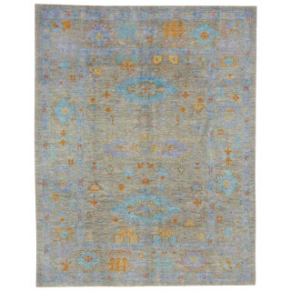 Contemporary Turkish Oushak Rug with Modern Style and Bright Colors For Sale