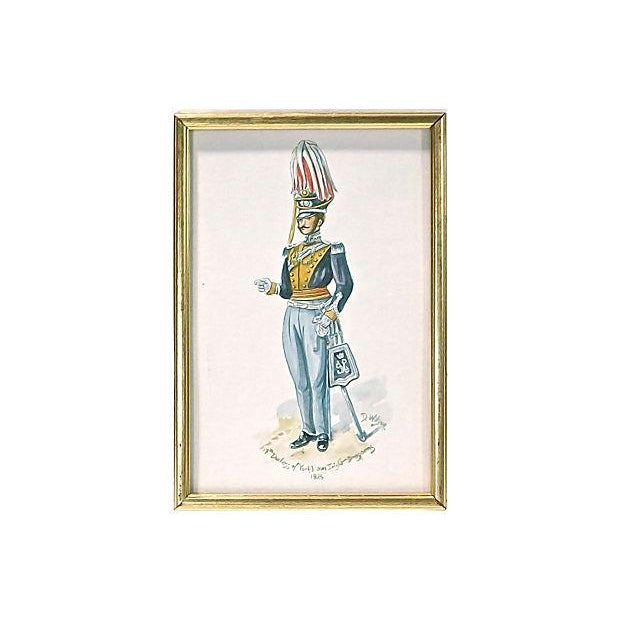 English Traditional D. Wilson Antique 19th Century Soldier Watercolor For Sale - Image 3 of 3
