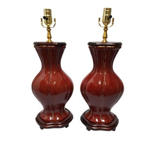 English Traditional Oxblood French Oval Lamps - a Pair