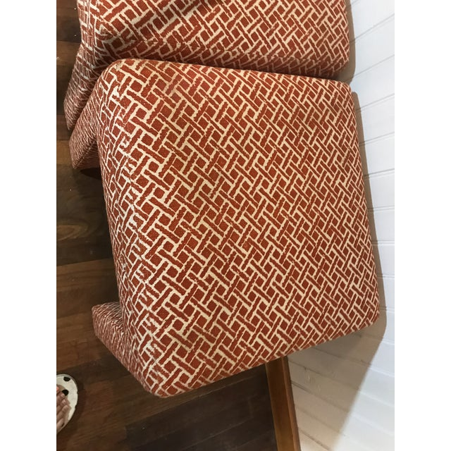 Textile Vintage Mid Century Modern Print Fabric Matched Ottomans Pair For Sale - Image 7 of 9