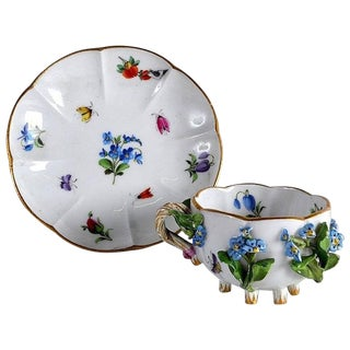 19th Century Meissen Cup & Saucer Encrusted With Flowers