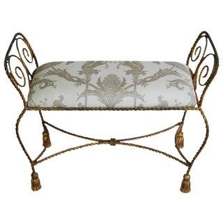 Fortuny Mid-Century Italian Lamballe Tassel Bench For Sale