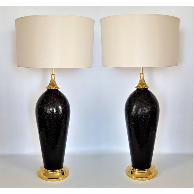 Antique black crackle murano glass italian table lamps a pair mid century modern mcm