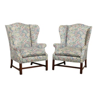 Chippendale Style Vintage Mahogany Wing Back Chairs - a Pair For Sale