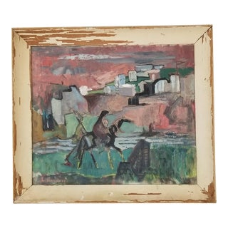 60's L. Shanker Figurative Abstract Landscape Painting . For Sale
