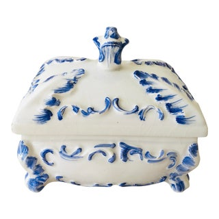 Vintage Handpainted Italian Porcelain Trinket Box. For Sale
