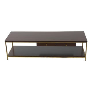 Large Brass Framed Coffee Table by Paul McCobb for Calvin For Sale
