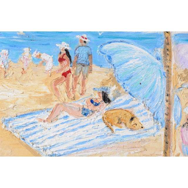 Oil on Canvas Umbrella Beach by Artist Jean Le Page For Sale - Image 9 of 11