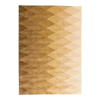 Solo Rugs Grit and Ground Collection Contemporary Harlequin Natural Hand-Knotted Area Rug, Cream/White, 6' X 9' For Sale